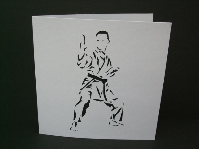 Karate Card - Judo Card - Papercut, Hand Cut Card - Handmade Greeting Card