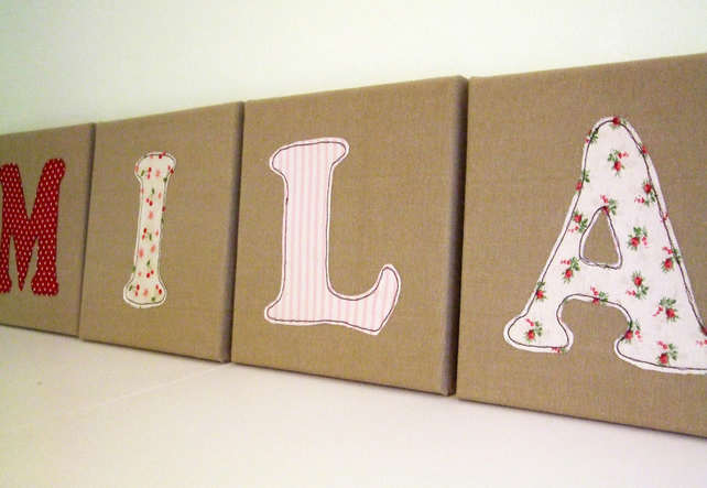 Large Canvas Fabric Letters 20x20cm - Child's Name Letters - Nursery Decor