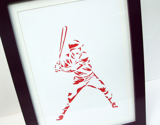 Paper cut Art - Baseball Picture, Baseball Player, Sport Art, Artwork