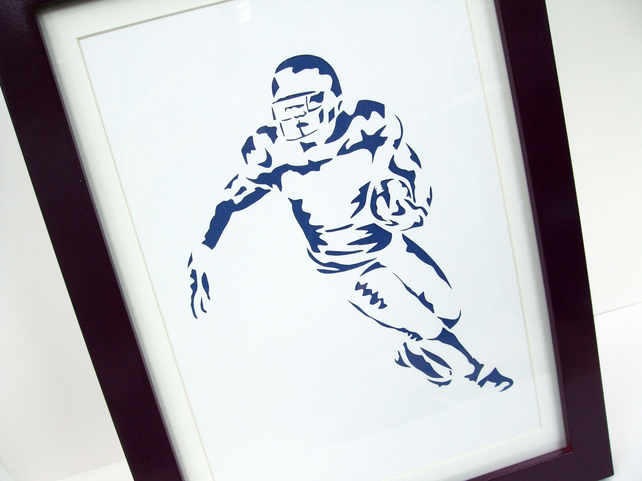 Paper cut Art - American Football Picture, Football Player, Sport Art, Artwork