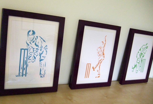 Paper cut Art - 3 Cricket Pictures, Bowler, Batsman and Wicket Keeper, Sport Art