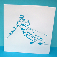 Ski Greeting Card - Skiing - Skier - Snow Sports -Greeting Card - Papercut