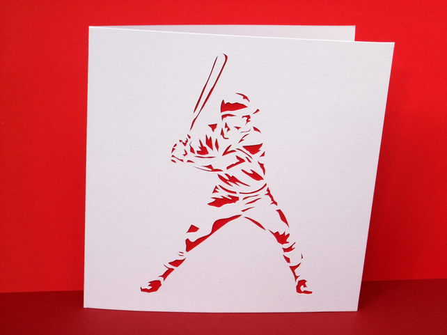 Baseball Card - Baseball Player - Greeting Card - Papercut Card