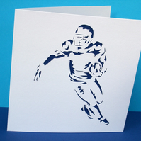 American Football Card - Football Player - Greeting Card - Paper Cut, Papercut