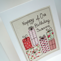 Large Personalised Birthday Card - Machine Embroidered Birthday Presents