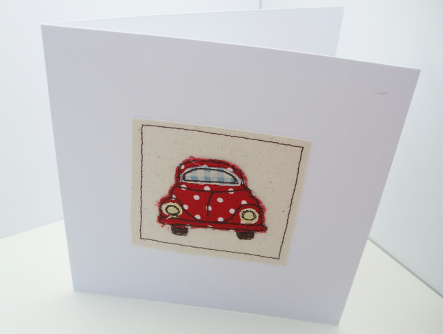 VW Beetle Bug Card - Machine Embroidered- Car Card - Driving Test