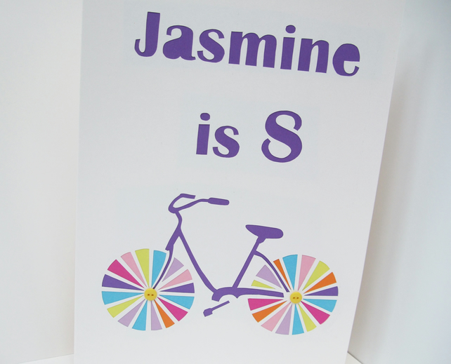 Large Personalised Bicycle Birthday Card
