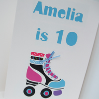 Large Personalised Roller Skate Birthday Card