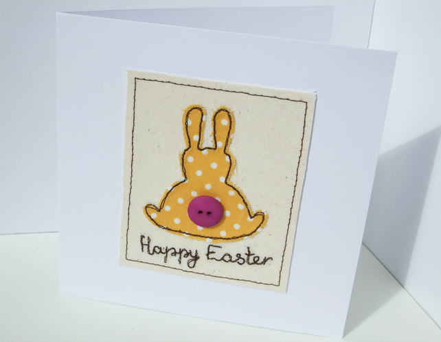 Easter Card - Embroidered Bunny
