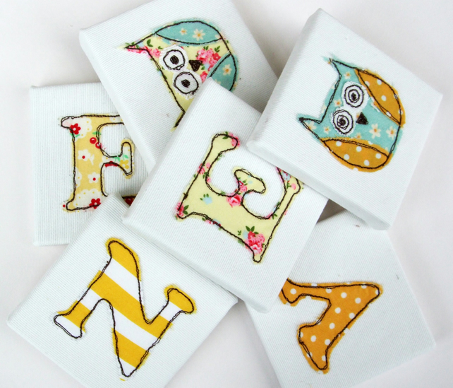 Childrens' Yellow Mini Canvas Name Letters  - Nursery Decor