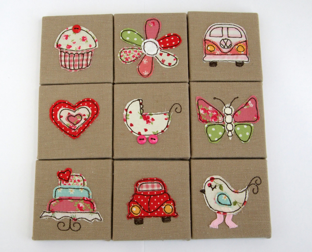 Children's Embroidered Mini Canvas Pictures - Nursery Wall Art