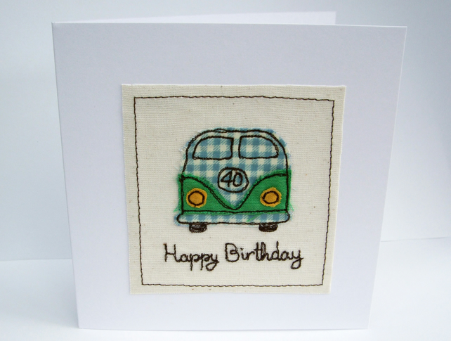 VW Camper Birthday Card - Machine Embroidered- Campervan, Camping, Birthday Card