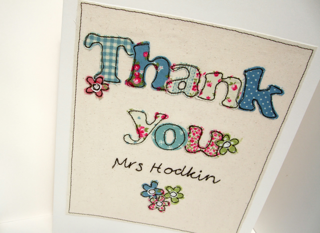 Large Teacher Thank You Card - Embroidered