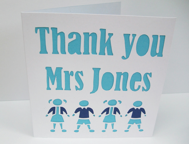 Personalised Teacher Thank you Card - Choose Colours