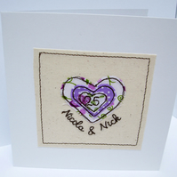 Special Wedding Anniversary Card with Embroidered Heart