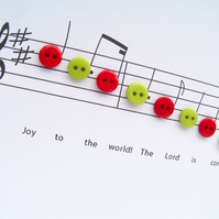 Christmas Card - Joy to the World Carol Music with Buttons Nikelcards