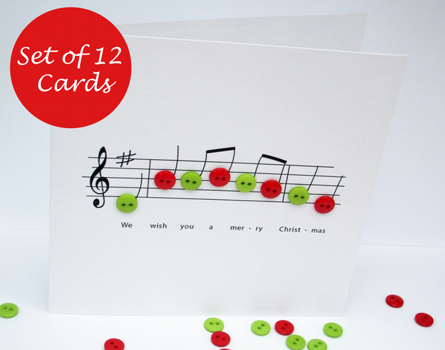 Christmas Card Set - Pack of 12 Christmas Cards - Christmas Music with button no