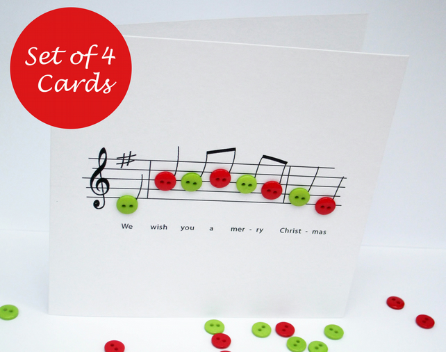Christmas Card Set - Pack of 4 Christmas Cards - Christmas Music with Buttons