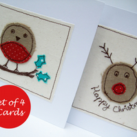 Pack of 4 Christmas Cards - 2 Robins and 2 Rudolph
