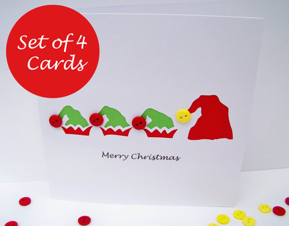 Set of 4 Christmas Cards - Christmas Card Pack- Paper Cut Santa & Elf Hats