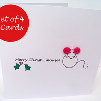 Set of 4 Christmas Cards - Merry Christ...mouse!