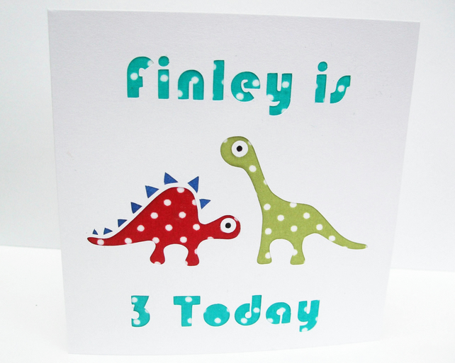 Dinosaur Birthday Card - Personalised
