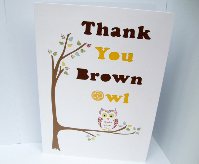 Large Personalised Thank You card with an Owl - Teacher Thank You