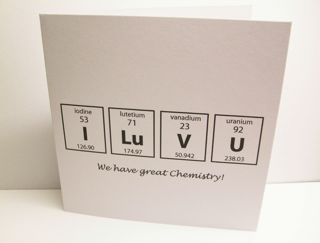 Valentine's Day Card  Funny Chemistry Card