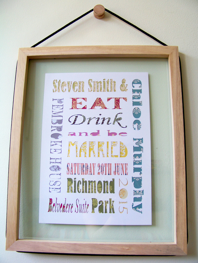 Personalised Wedding Gift - Paper Cut Word Art