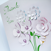 Large Personalised Card - Paper Cut Flowers