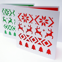 Set of 2 Christmas Cards - Fair Isle Design - Paper Cut