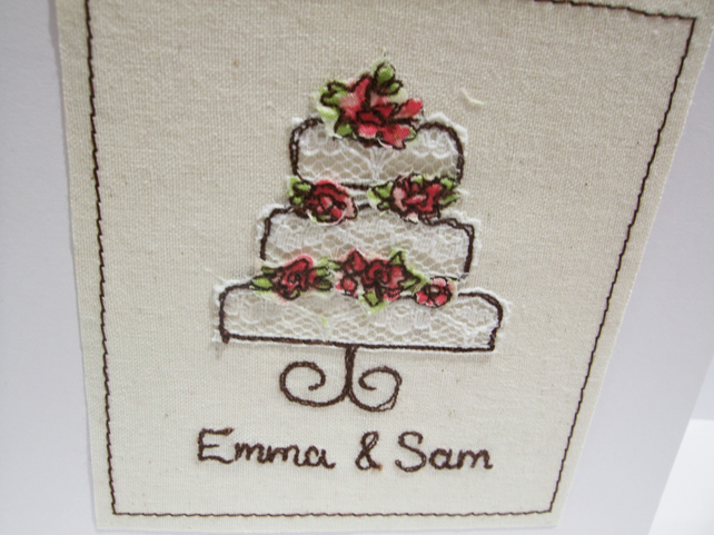 Personalised Wedding Card - Embroidered Wedding Cake