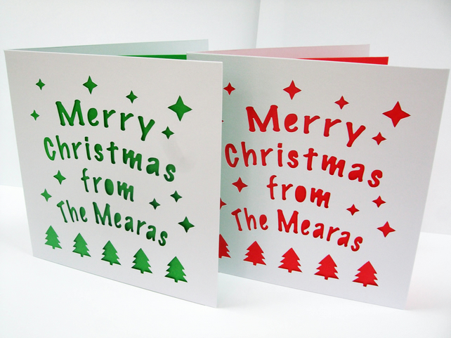 Personalised Christmas Cards - Set of 2 Cards - Paper Cut