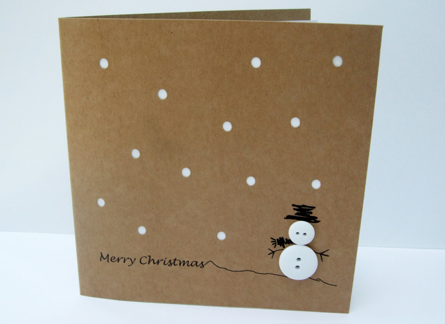 Button Snowman Christmas Card
