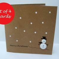 Pack of 4 Button Snowman Christmas Cards