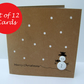 Set of 12 Christmas Cards - Button Snowman - Christmas Card Pack