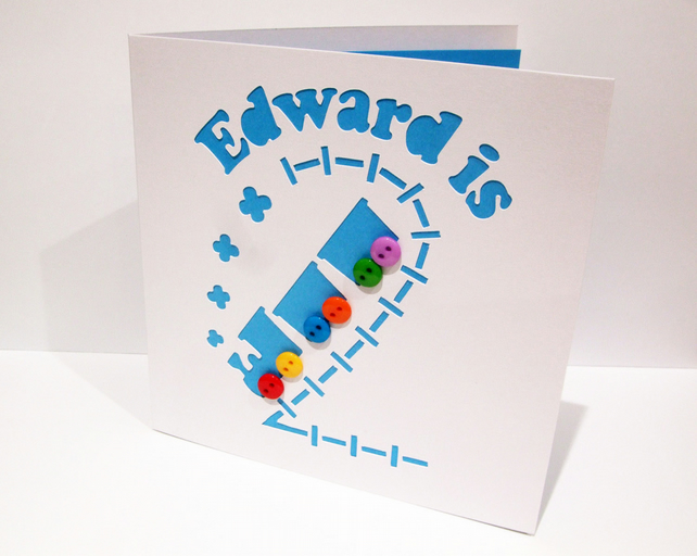 Personalised 2nd Birthday Card with a Train for a Boy
