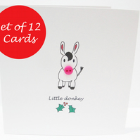 Christmas Card Set of 12 - Little Donkey