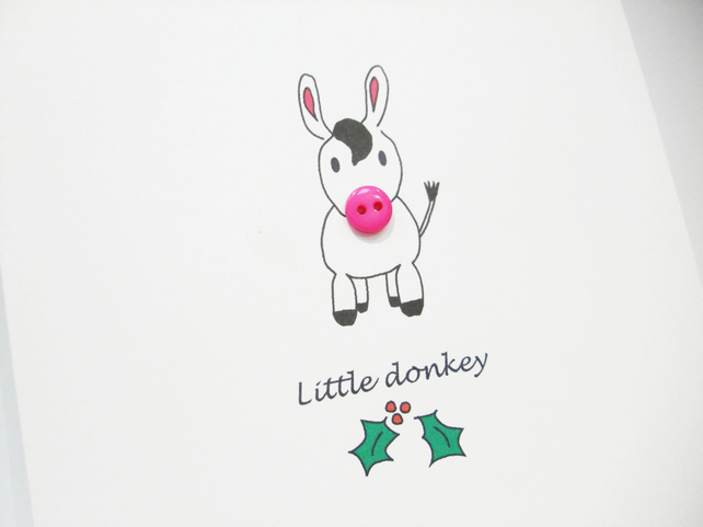 Christmas Card - Little Donkey with a button nose