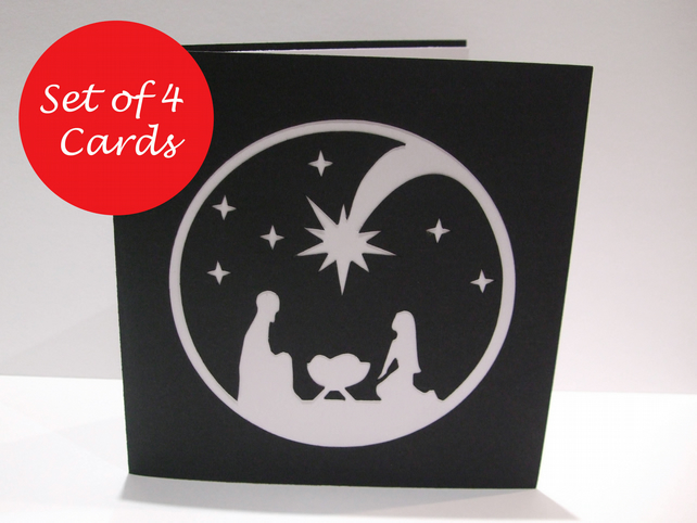 Pack of 4 Christmas Cards - Paper Cut Nativity Card - Religious Christmas Card