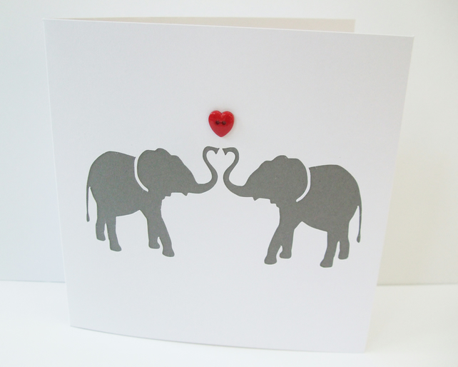 Elephants Valentines Day Card Folksy – Elephant Valentines Card