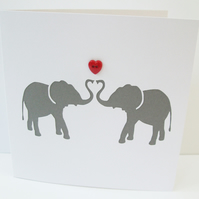 Elephants Valentine's Day Card