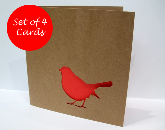Set of 4 Robin Christmas Cards