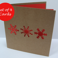 Set of 4 Snowflake Christmas Cards