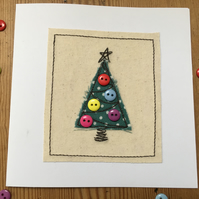 Christmas Card - Embroidered Christmas Tree with buttons