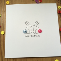Hoppy Birthday - Birthday Card - Bunnies with button tails Birthday Card