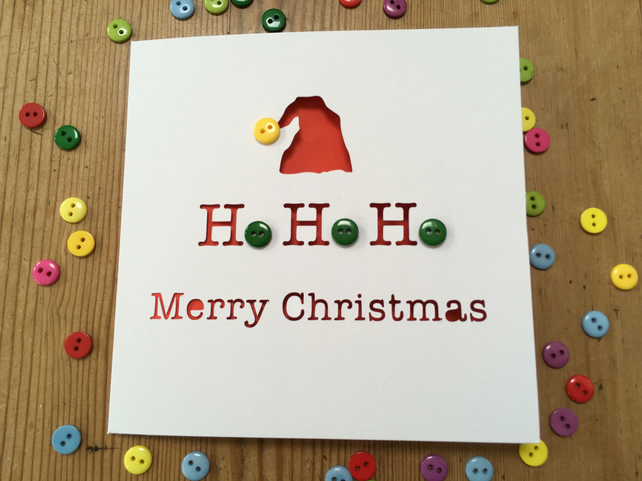 Christmas Card - Paper Cut - Ho Ho Ho Buttons