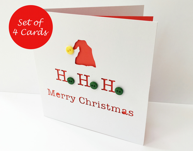 Set of 4 Christmas Cards - Santa