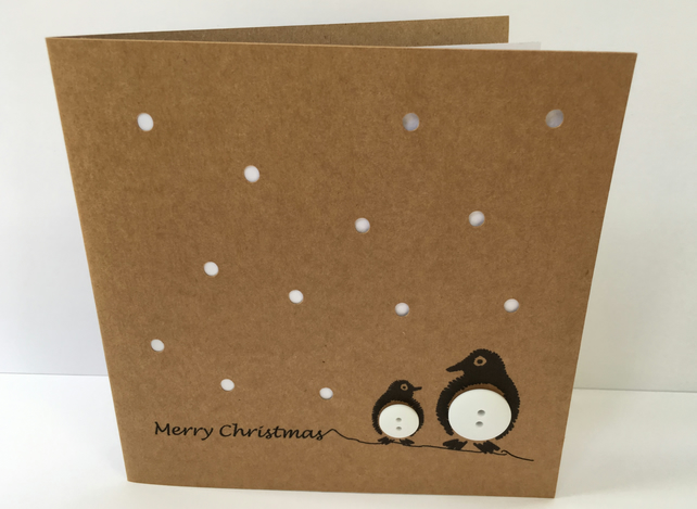 Penguin Christmas Card - Paper cut with buttons