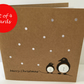 Set of 4 Penguin Christmas Cards with buttons